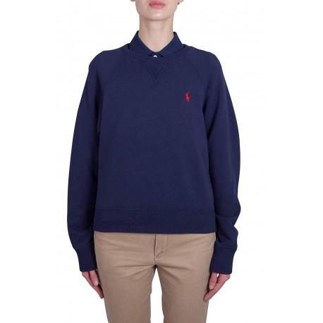 Sweat col rond Ralph Lauren bleu marine logo rouge pour femme