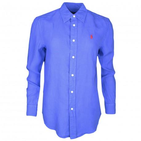 Chemise Ralph Lauren bleu logo rouge décontractée pour femme