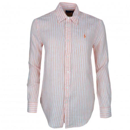 Chemise Ralph Lauren orange à rayures blanches logo orange décontractée pour femme