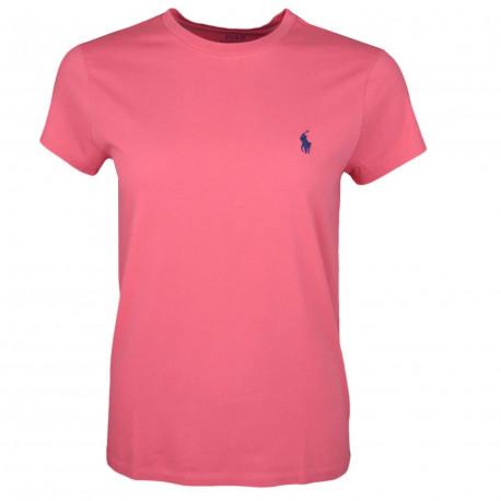 T-shirt col rond Ralph Lauren rouge logo bleu marine coupe droite pour femme