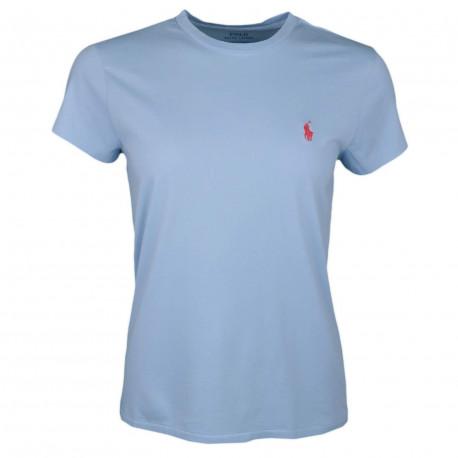 T-shirt col rond Ralph Lauren bleu ciel logo rouge décontracté pour femme