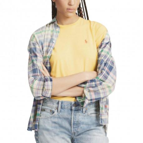T-shirt col rond Ralph Lauren jaune logo orange décontracté pour femme