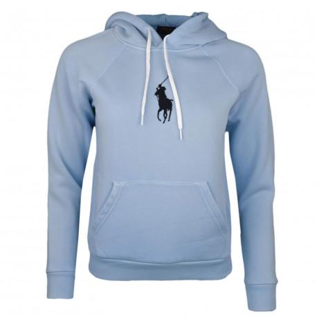 Sweat à capuche Ralph Lauren bleu ciel big poney noir pour femme
