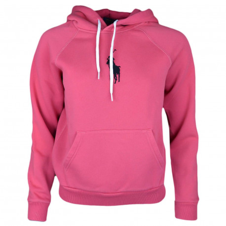 Sweat à capuche Ralph Lauren rouge big pony noir pour femme