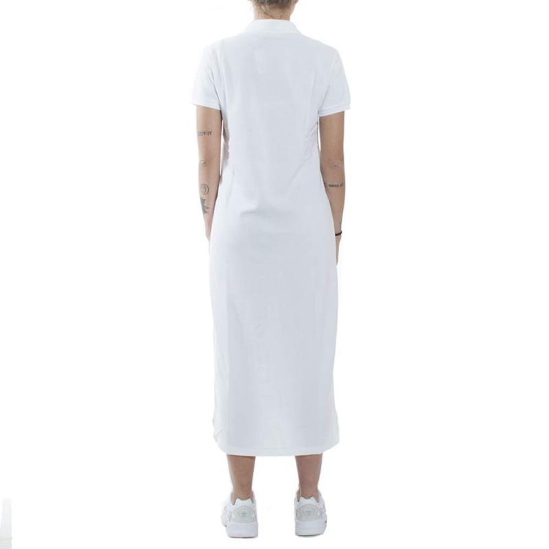 Robe Polo Longue Ralph Lauren Blanche Logo Bleu En Pique Pour Femme