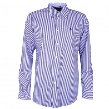 Chemise Ralph Lauren bleu et blanche à rayures décontracté pour femme