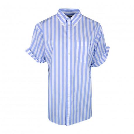 Chemise manches courtes Ralph Lauren bleu et blanche à rayures décontracté pour femme