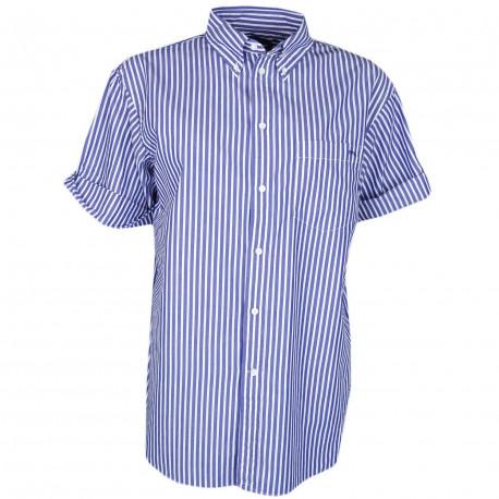 Chemise manches courtes Ralph Lauren bleu marine et blanche à rayures décontractée pour femme