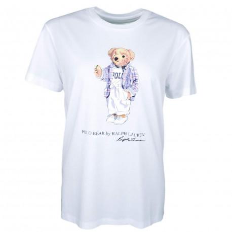 T-shirt col rond Ralph Lauren blanc Big Bear régular fit pour femme