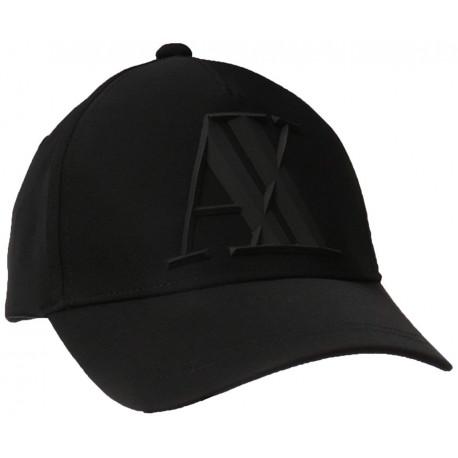 Casquette Armani Exchange noire logo gomme en élastomultiester pour homme