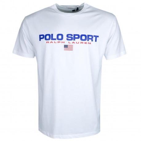 T-shirt col rond Ralph Lauren blanc POLO SPORT pour homme