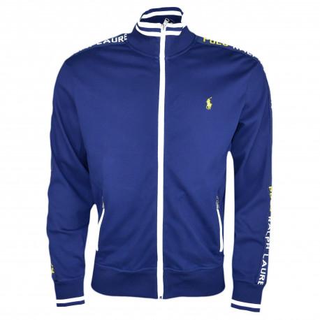 Veste sweat zippée sport Ralph Lauren bleu marine logo jaune pour homme