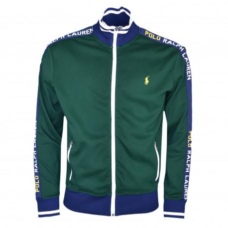 Veste sweat zippée sport Ralph Lauren verte logo jaune pour homme