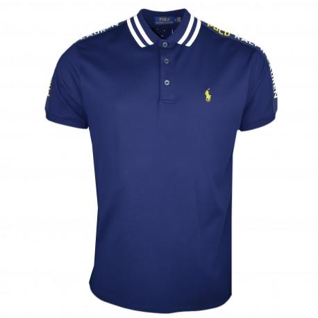 Polo Ralph Lauren bleu marine logo jaune en piqué coupe droite pour homme