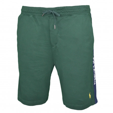 Short sport Ralph Lauren vert logo jaune pour homme