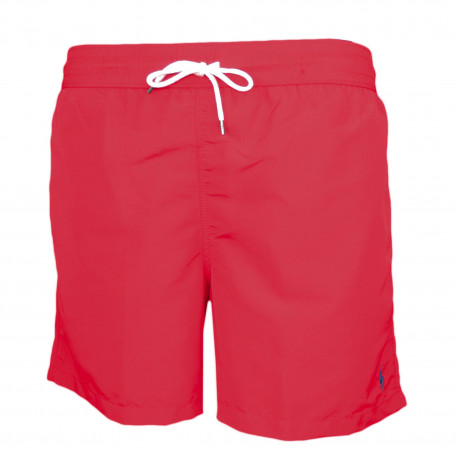 Short de bain Ralph Lauren rouge logo bleu marine pour homme