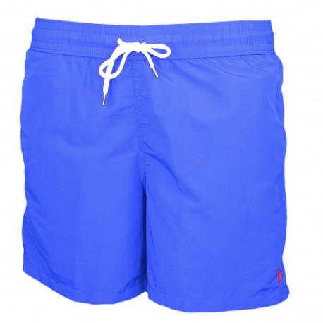 Short de bain Ralph Lauren bleu roi logo rouge pour homme