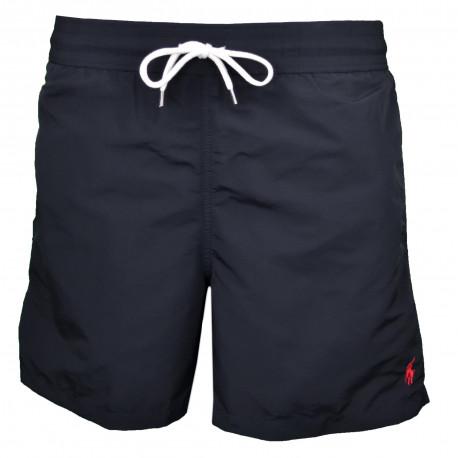 Short de bain Ralph Lauren noir logo rouge pour homme