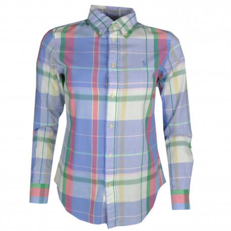 Chemise madras Ralph Lauren multicolore à carreaux coupe droite pour femme