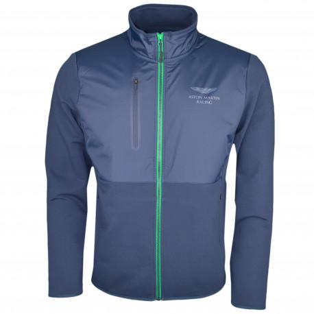Veste zippée bi-matière Hackett Aston Martin bleu marine pour homme