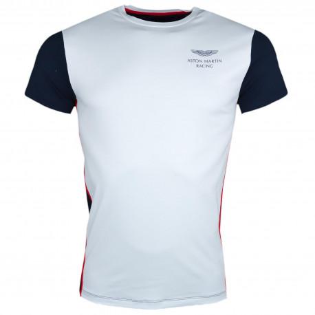 T-shirt col rond Hackett Aston Martin blanc et bleu marine pour homme