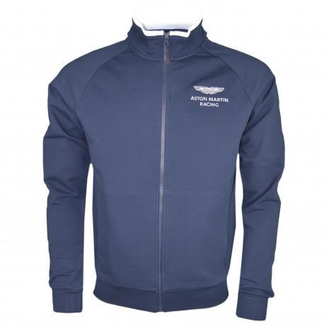 Veste zippée Hackett Aston Martin bleu marine bandes blanches pour homme