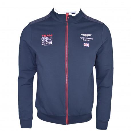 Veste sweat zippée Hackett bleu marine Aston Martin Team 95 pour homme