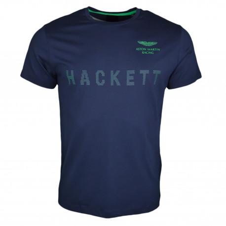 T-shirt col rond Hackett Aston Martin bleu marine inscription verte pour homme
