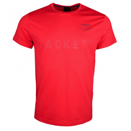 T-shirt col rond Hackett Aston Martin rouge inscription relief pour homme