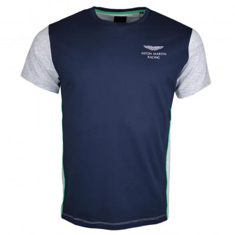 T-shirt col rond Hackett Aston Martin bleu marine et gris pour homme