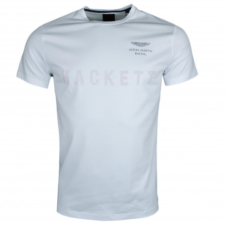 T-shirt col rond Hackett Aston Martin blanc inscription relief pour homme
