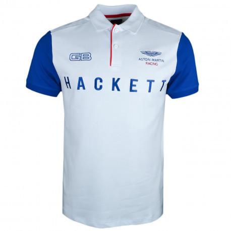Polo Hackett Aston Martin blanc manches bleu pour homme