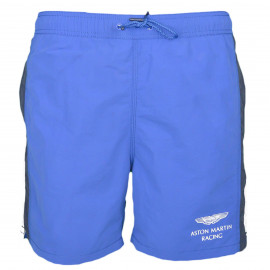 Short de bain Hackett Aston Martin bleu avec bandes blanches et noires pour homme