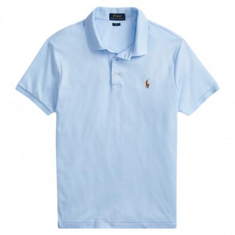 Polo Ralph Lauren bleu ciel logo multicolore en jersey slim fit pour homme