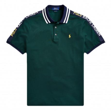 Polo Ralph Lauren vert logo jaune en piqué coupe droite pour homme