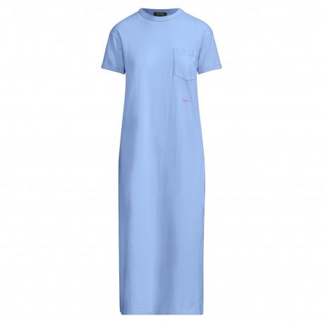Robe t-shirt longue Ralph Lauren bleu droite pour femme