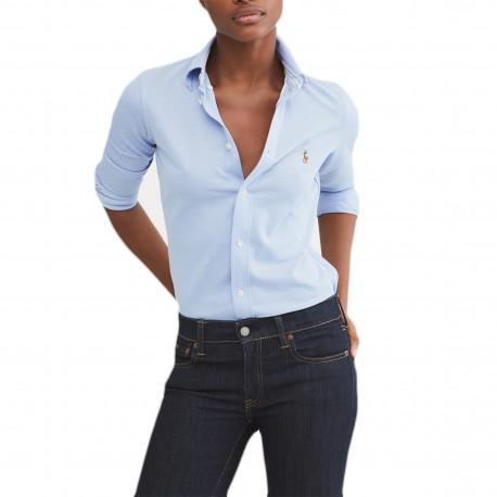 Chemise polo Ralph Lauren bleu ciel logo multicolore en piqué pour femme