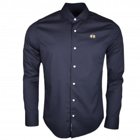 Chemise La Martina noire basique logo doré slim fit pour homme