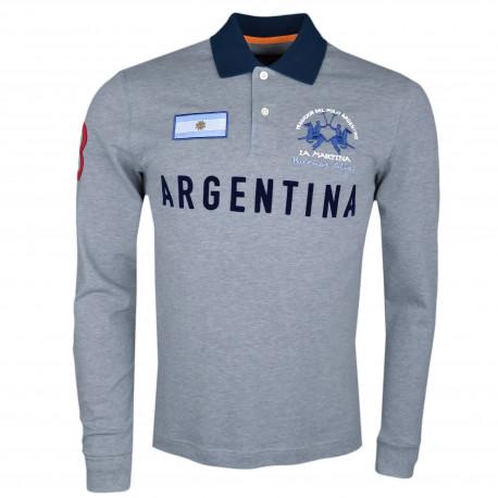Polo manches longues La Martina gris Argentina régular fit pour homme