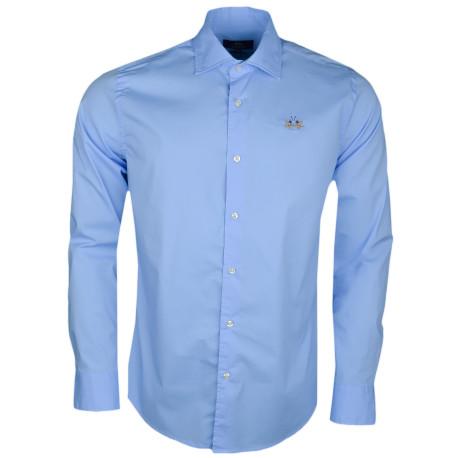 Chemise La Martina bleu ciel basique logo doré slim fit pour homme
