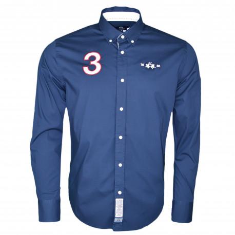 Chemise La Martina bleu marine Polo Team anglaise régular fit pour homme