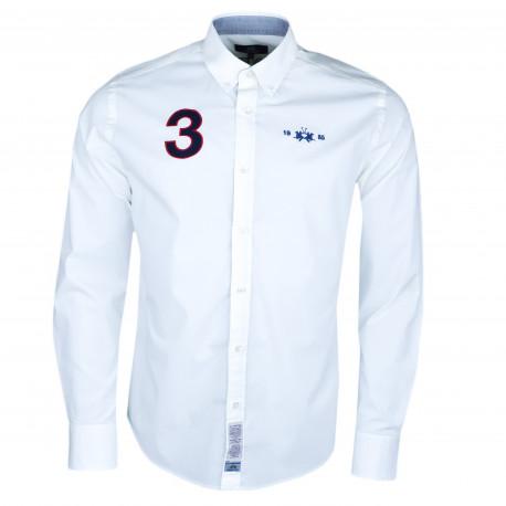 Chemise La Martina blanche Polo Team anglaise régular fit pour homme