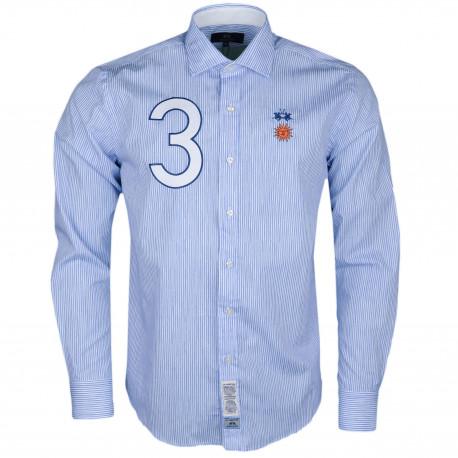 Chemise La Martina rayér bleu et blanche Argentine régular fit pour homme