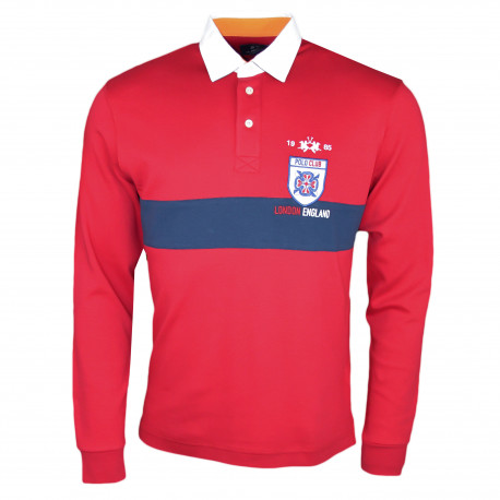 Polo rugby La Martina rouge et bleu marine Polo Club London régular fit pour homme