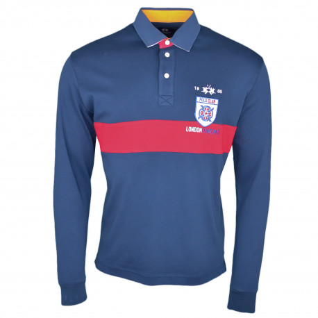 Polo rugby La Martina bleu marine et rouge Polo Club London régular fit pour homme