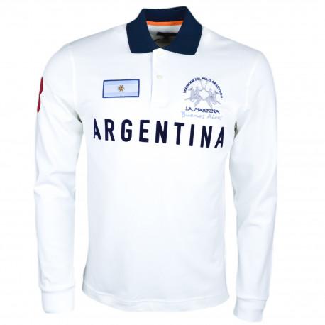 Polo manches longues La Martina blanc Buenos Aires régular fit pour homme