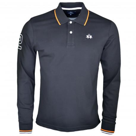 Polo manches longues La Martina noir logo blanc régular fit pour homme