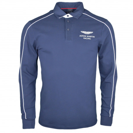 Polo manches longues Hackett Aston Martin bleu marine liséré blanc
