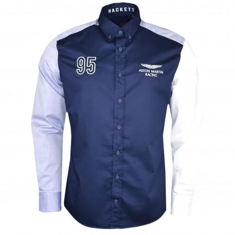 Chemise Hackett Aston Martin bleu marine manches contrastées régular fit pour homme