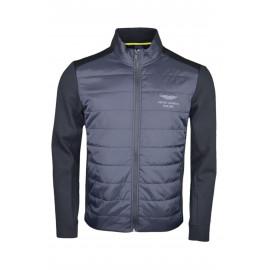 Veste bi-matière zippée Hackett Aston Martin noire en nylon et polyester pour homme